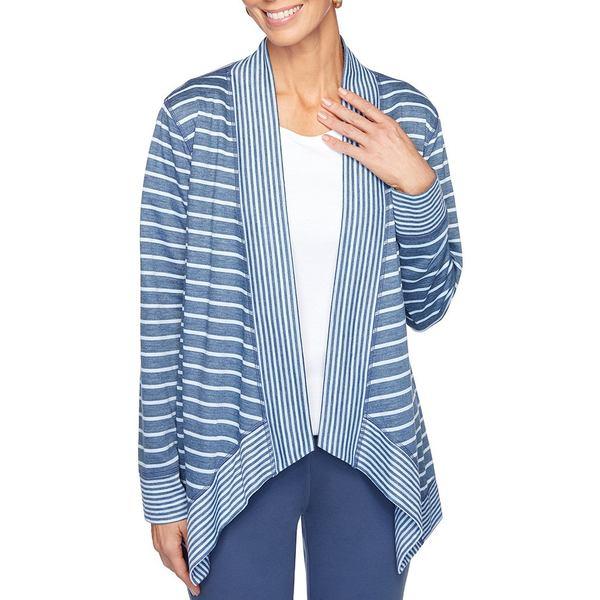 ルビーロード レディース ニット&セーター アウター Petite Size Double Face Stripe Jersey Open Front Sharkbite Hem Front Cardigan Slate Blue