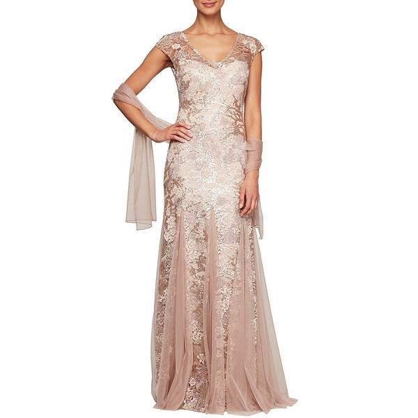 アレックスイブニングス レディース ワンピース トップス Petite Size Sequin Embroidered V-Neck Cap Sleeve Lace Godet Skirt Shawl Gown Rose Gold