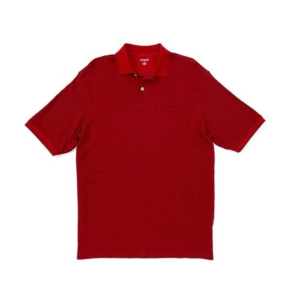 ランドツリーアンドヨーク メンズ ポロシャツ トップス Short-Sleeve Striped Pocket Polo Red