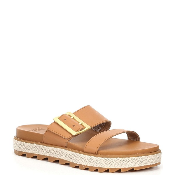 ソレル レディース サンダル シューズ Roaming Leather Buckle Jute Slide Sandals Camel Brown