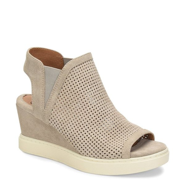 ソフト レディース サンダル シューズ Basima Perforated Glitter Suede Slip On Sporty Wedges Grey