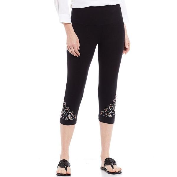 イントロ レディース レギンス ボトムス Teri Love the Fit Embellished Hem Capri Leggings Ebony Black