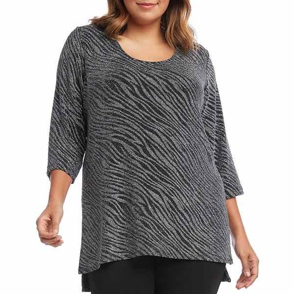 カレンケーン レディース Tシャツ トップス Plus Size Side-Slit Metaillic Zebra Print Top Black Silver
