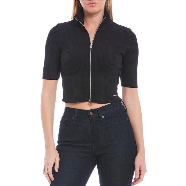 カルバンクライン レディース Tシャツ トップス Jeans Rib Knit Short Sleeve Mock Neck Full Zip Crop Top Black
