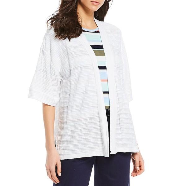 ウェストボンド レディース ニット&セーター アウター Elbow Sleeve Kimono Cardigan White