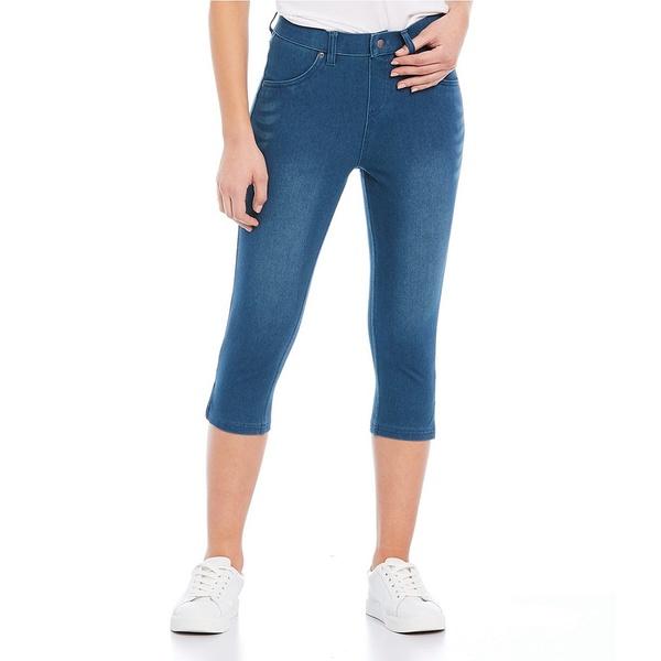 ヒュー レディース レギンス ボトムス Ultra Soft Denim High Waist Short Capri Leggings Windsor Blue