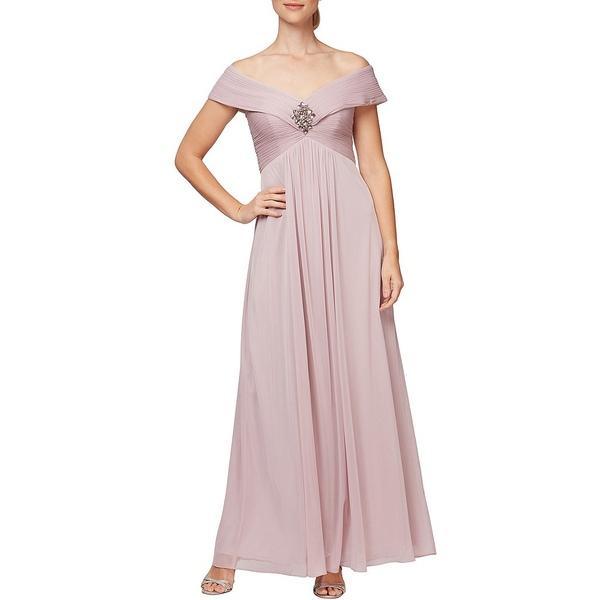 アレックスイブニングス レディース ワンピース トップス Off-The-Shoulder Ruched Bodice Gown Rose
