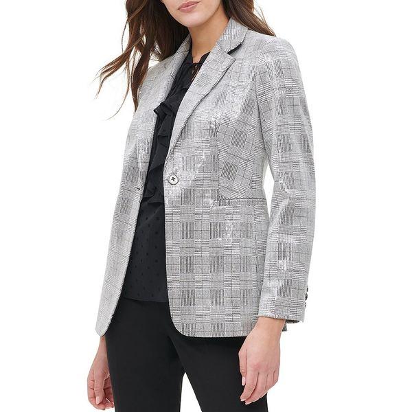 トミー ヒルフィガー レディース ジャケット&ブルゾン アウター Plaid Allover Sequin One-Button Jacket Black Multi