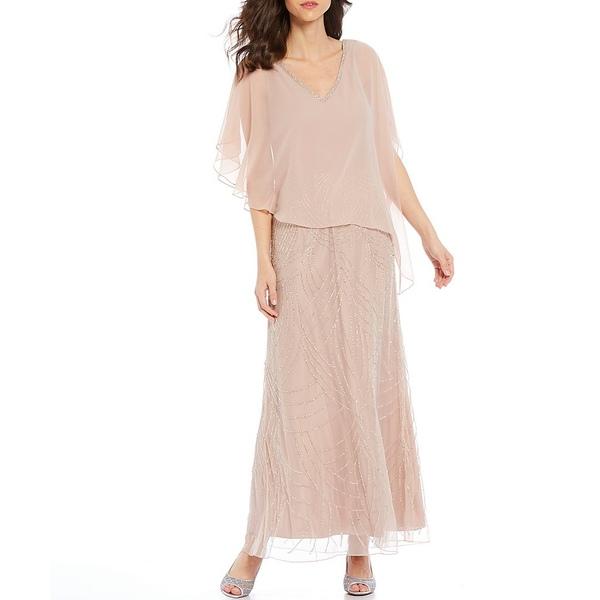 ジェイカラ レディース ワンピース トップス V-Neck Asymmetric Cape Pop Over Geometric Beaded Gown Pink