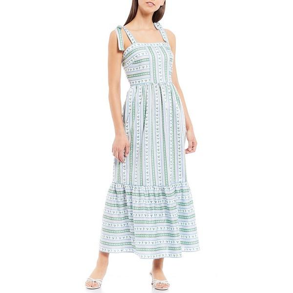 ギャルミーツグラムコレクション レディース ワンピース トップス Geraldine Shoulder Tie Foulard Printed Square Neck Cotton Maxi Dress Purple/Blue