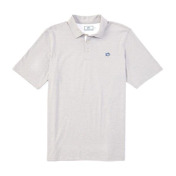 サウザーンタイド メンズ ポロシャツ トップス Channel Marker Stripe Short-Sleeve Polo Shirt Steel Grey