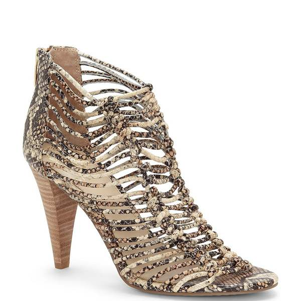 ヴィンスカムート レディース サンダル シューズ Alsandra Caged Snake Print Leather Dress Sandals Brown Multi