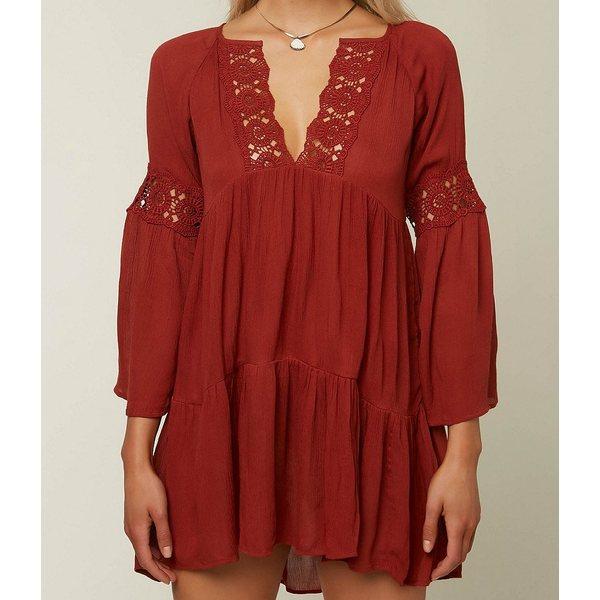 オニール レディース ワンピース トップス Saltwater Solids Bell Sleeve V-Neck Crochet Detail Cover Up Dress Red
