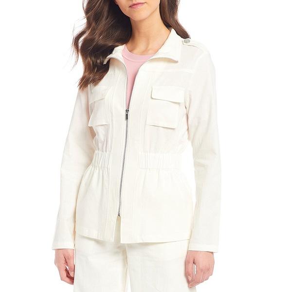 ティー・タハリ レディース ジャケット&ブルゾン アウター Stand Collar Elastic Waist Linen Blend Zip Jacket Ivory