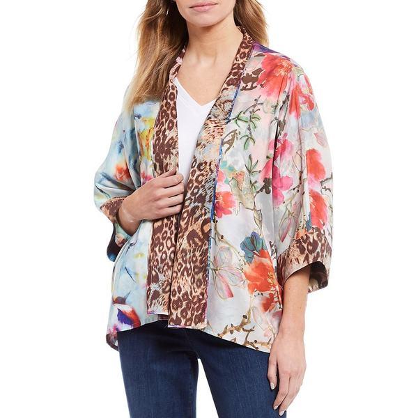 ジョンマーク レディース ジャケット&ブルゾン アウター Mixed Print Sateen & Charmeuse 3/4 Sleeve Reversible Kimono Jacket Multi