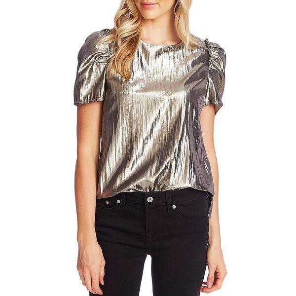 セセ レディース シャツ トップス Puffed Short Sleeve Metallic Gold Lam Blouse Silver Charm