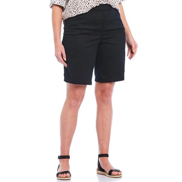 イントロ レディース カジュアルパンツ ボトムス Plus Size Rose Tummy Control Pull-On Bermuda Shorts Ebony Black