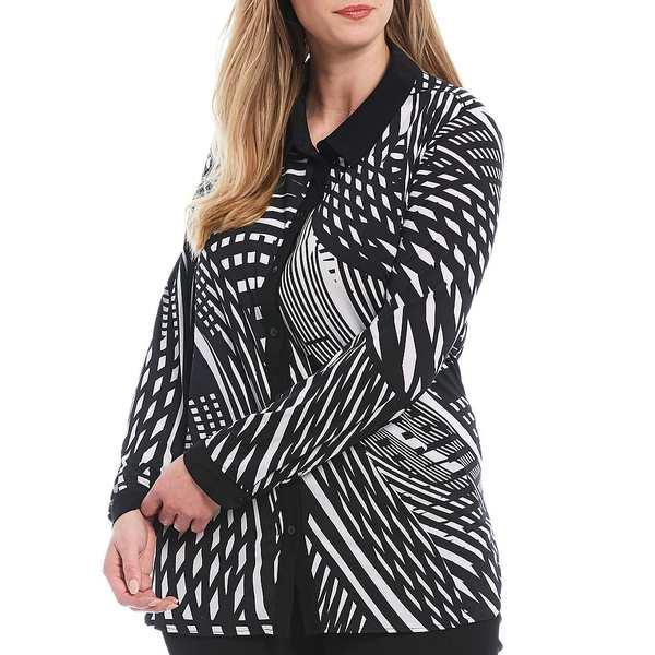 アリソンダーレイ レディース シャツ トップス Plus Size Vertigo Print Knit Chiffon Button Down Long Sleeve Blouse Vertical Lines