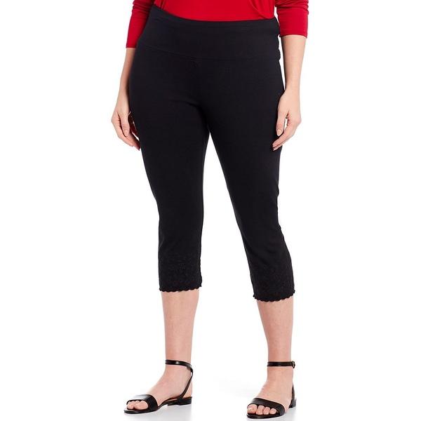 イントロ レディース レギンス ボトムス Plus Size #double;Teri#double; Love the Fit Embroidered Hem Capri Leggings Ebony Black
