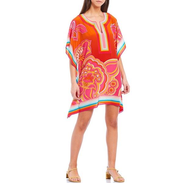 トリーナターク レディース ワンピース トップス Theodora Multi Print Split V-Neck 3/4 Sleeve Caftan Dress Multi