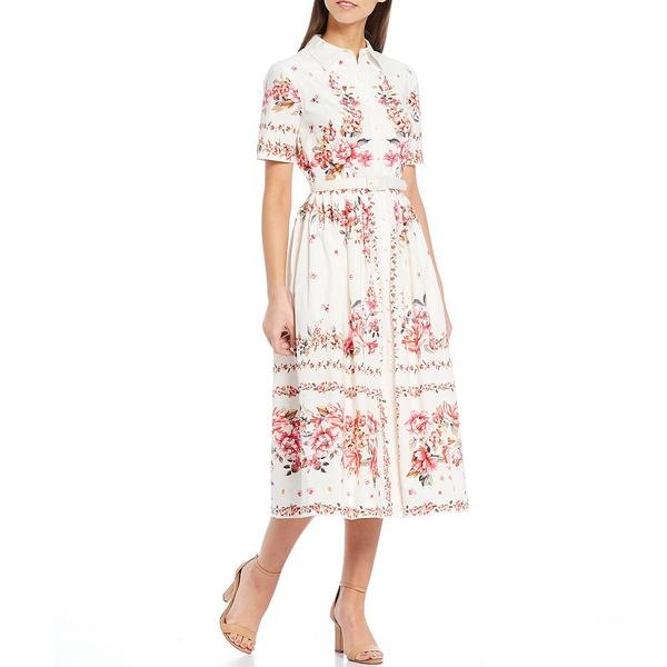 アントニオメラニー レディース ワンピース トップス Dorinda Floral Print Short Sleeve Button Front Midi Dress Pinksand/Ivory