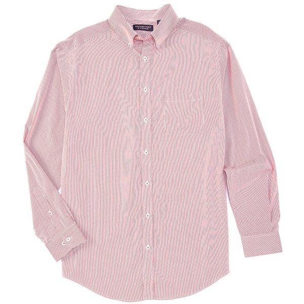 ランドツリーアンドヨーク メンズ シャツ トップス Luxury Cotton Long-Sleeve Striped Sportshirt Bright Berry
