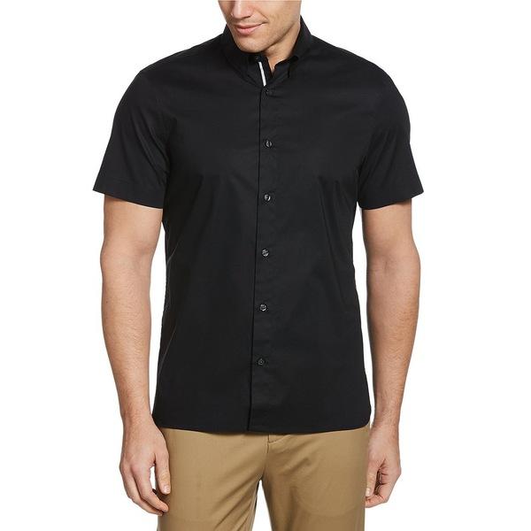 ペリーエリス メンズ シャツ トップス Untucked Solid Stretch Short-Sleeve Woven Shirt Black