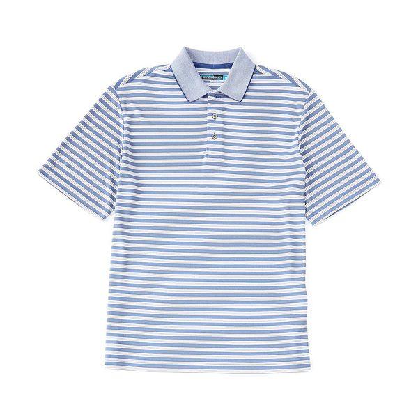 ランドツリーアンドヨーク メンズ ポロシャツ トップス Performance Short-Sleeve Striped Polo Dazzling Blue