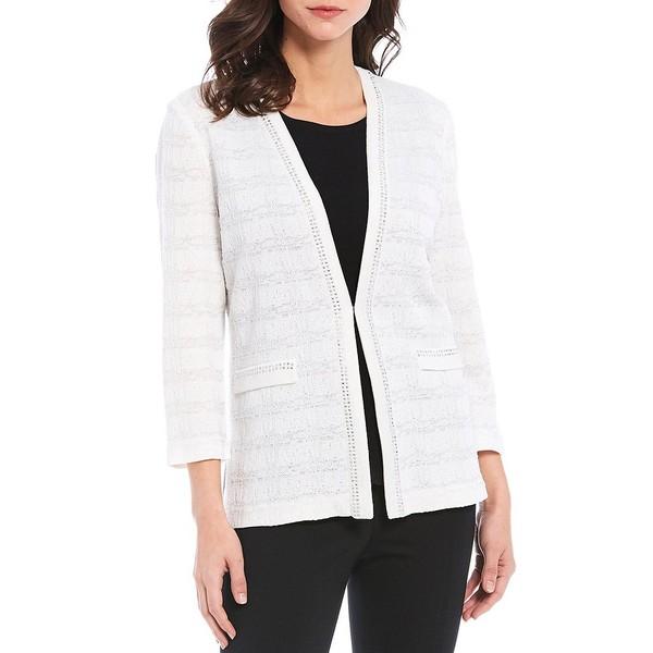 ミソーク レディース ジャケット&ブルゾン アウター Bracelet Sleeve Studded Trim Plaid Textured Jacket White/Multi