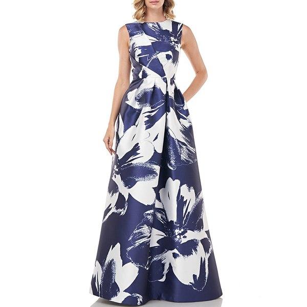 ケイアンガー レディース ワンピース トップス Kaitlyn Sleeveless Floral Print Mikado Gown Navy White