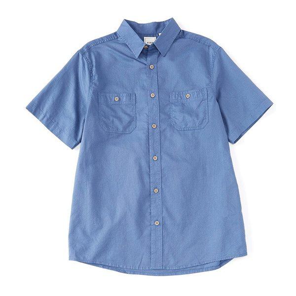 ロウン メンズ シャツ トップス Big & Tall Short-Sleeve Solid Dobby Textured 2-Pocket Sportshirt Dusty Blue
