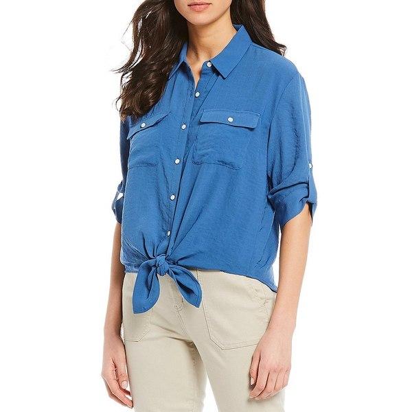 ウェストボンド レディース シャツ トップス Roll-Tab Sleeve Tie Front Shirt Brightcobalt