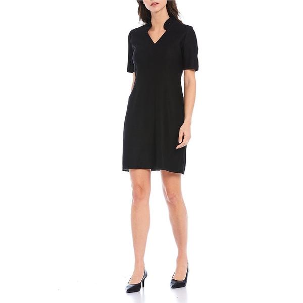 ミソーク レディース ワンピース トップス Short Sleeve Ruffle Neck Shift Dress Black