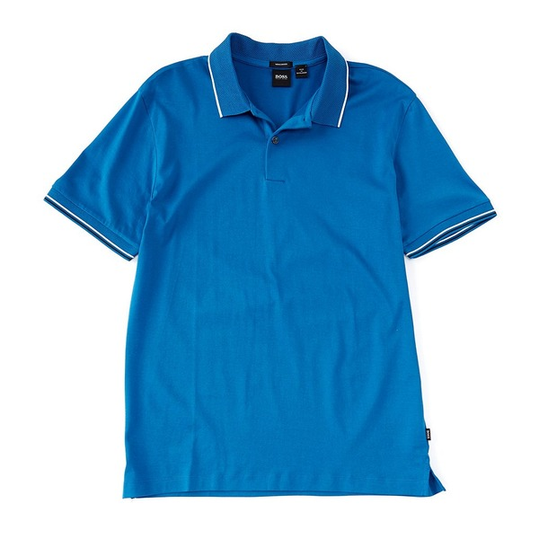 ヒューゴボス メンズ ポロシャツ トップス BOSS Parlay Leisure Jersey Short-Sleeve Polo Shirt Blue
