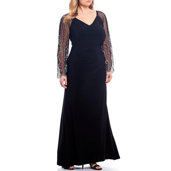 カチェット レディース ワンピース トップス Plus Size Beaded Matte Jersey Long Sleeve Gown Black