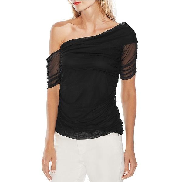 ヴィンスカムート レディース Tシャツ トップス Short Sleeve One-Shoulder Ruched Mesh Knit Stretch Blouse Rich Black
