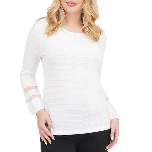 アリソンダーレイ レディース Tシャツ トップス Petite Size Solid Wide Crew Neck Long Sleeve Ribbed Ottoman Top White