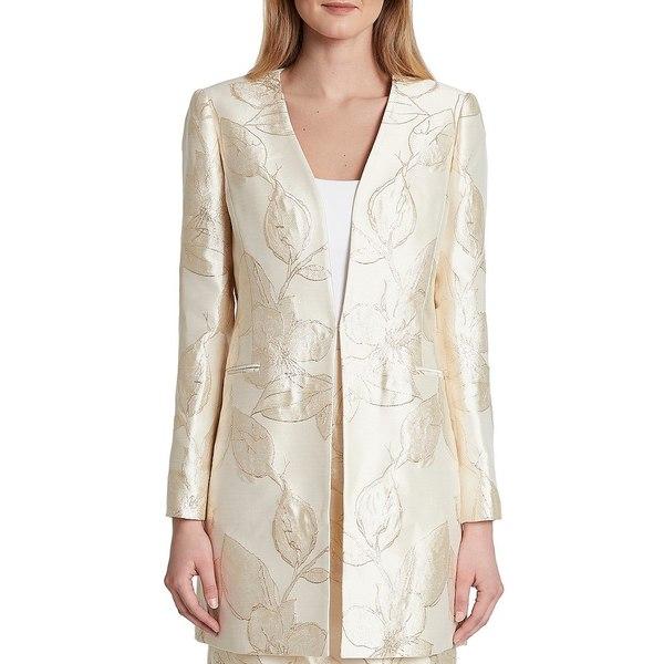 タハリエーエスエル レディース ジャケット&ブルゾン アウター Long Sleeve Floral Metallic Jacquard Open Front Topper Gold Neutral Floral