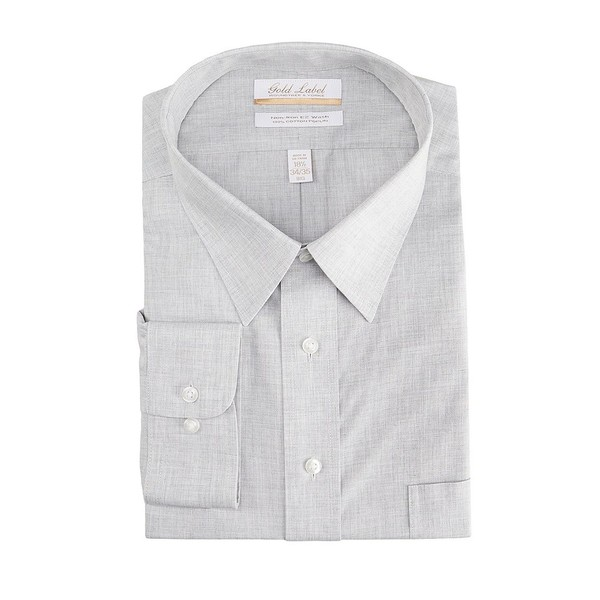 ランドツリーアンドヨーク メンズ シャツ トップス Gold Label Roundtree & Yorke Big & Tall Non-Iron Point Collar Solid Linen Dress Shirt Grey