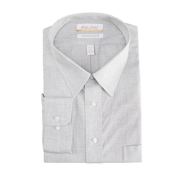 ランドツリーアンドヨーク メンズ シャツ トップス Gold Label Roundtree & Yorke Big & Tall Non-Iron Point Collar Solid Linen Dress Shirt Grey