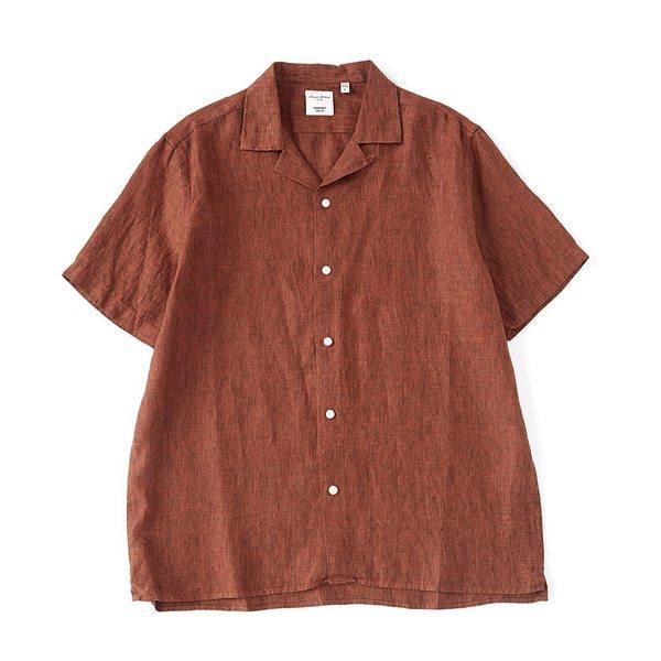 ムラノ メンズ シャツ トップス Slim-Fit Baird McNutt Linen Short-Sleeve Woven Camp Shirt Rustic Brown