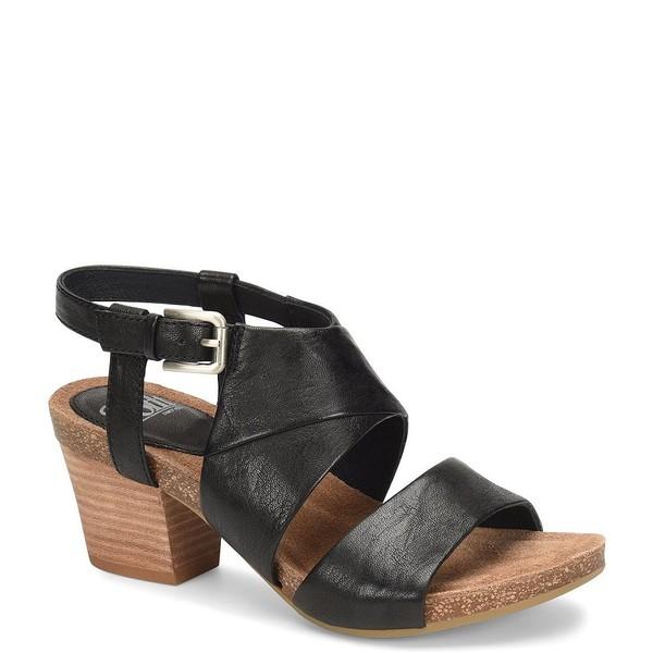 ソフト レディース サンダル シューズ Melina Leather Stacked Block Heel Sandals Black