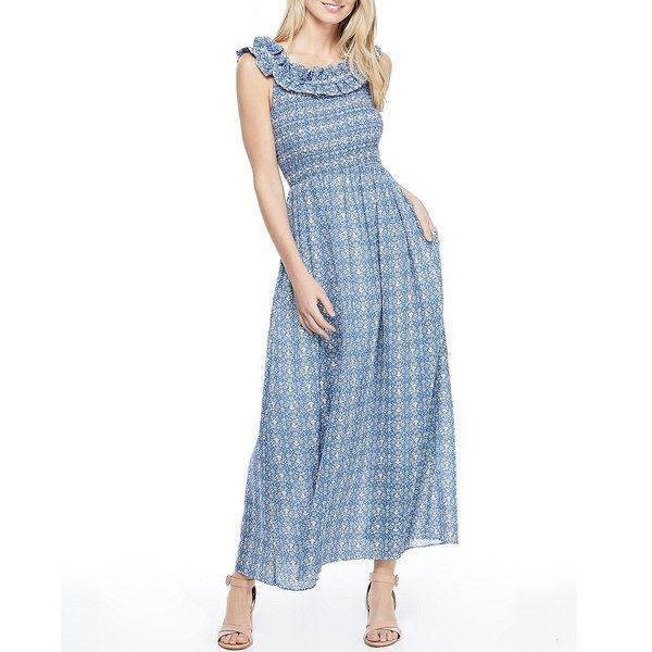 ギャルミーツグラムコレクション レディース ワンピース トップス Tessa Ruffle Round Neck Sleeveless Cotton Maxi Dress Blue Bird