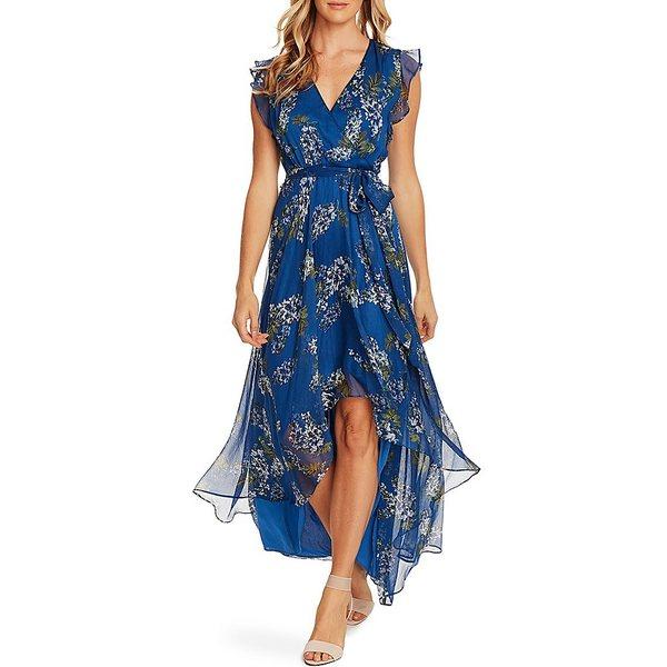 ヴィンスカムート レディース ワンピース トップス V-Neck Sleeveless Ruffle Floral Hi-Low Faux Wrap Dress Dusk Blue