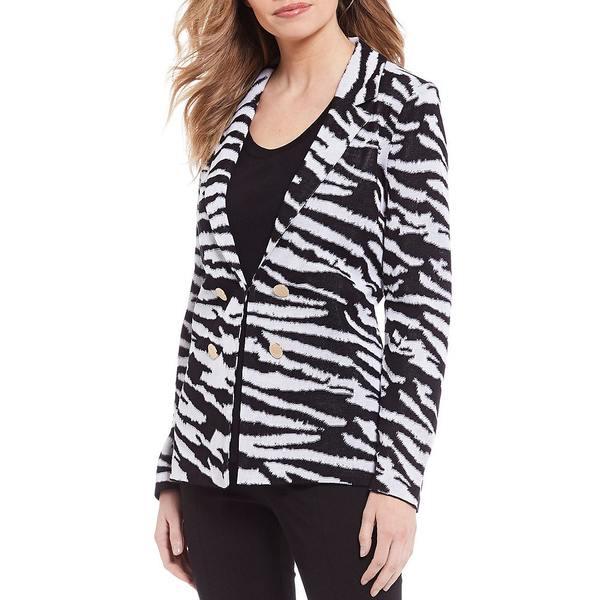 ミソーク レディース ジャケット&ブルゾン アウター Zebra Print Long Sleeve Blazer Black/White