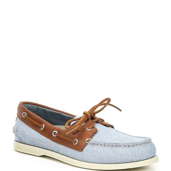 スペリー メンズ スニーカー シューズ Men's Authentic Original 2-Eye Gingham Boat Shoes Blue/Tan
