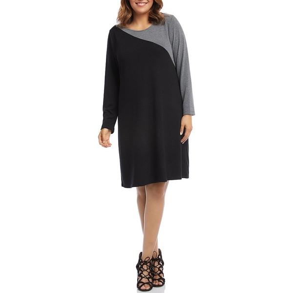 カレンケーン レディース ワンピース トップス Plus Size Color Block Contrast Sweater Dress Black/Heather Grey