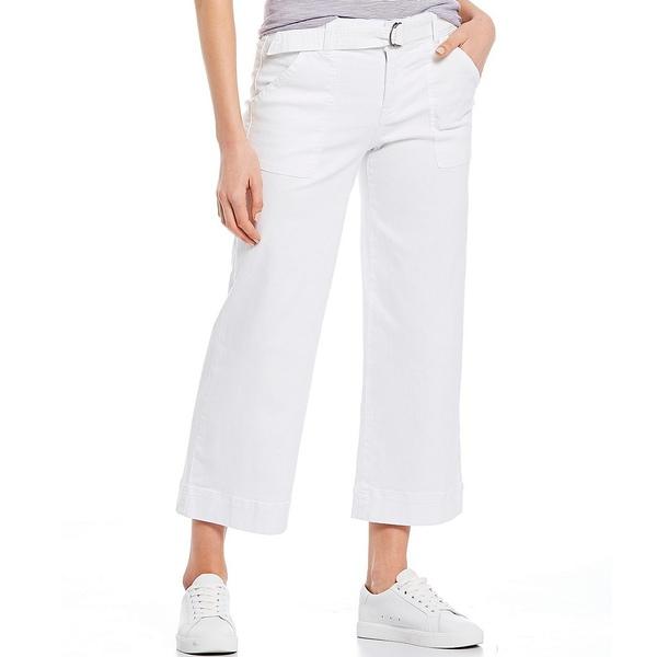 ウェストボンド レディース カジュアルパンツ ボトムス Belted Crop Wide Leg Pants White