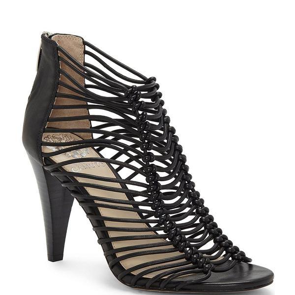 ヴィンスカムート レディース サンダル シューズ Alsandra Caged Leather Dress Sandals Black