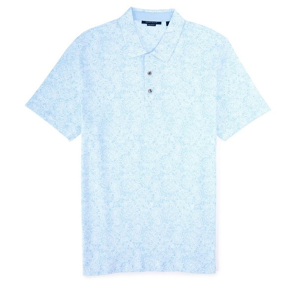 ペリーエリス メンズ ポロシャツ トップス Paisley Print Pima Cotton Short-Sleeve Polo Shirt Cerulean